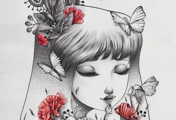 Jenter med blomster og sommerfugler