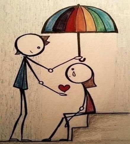 Regnbuefarget paraply