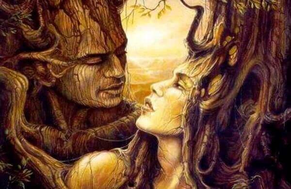 Mann og kvinne i tre