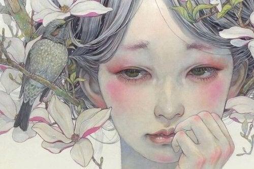 Jente og blomster