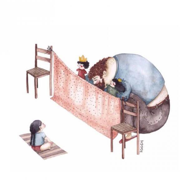 Far og datter-forholdet - Far leker med datter
