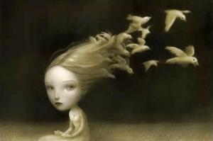 Giftige barn: voksne er ikke de eneste - Jente med fugler i håret