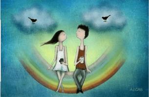 Par sitter på regnbuen