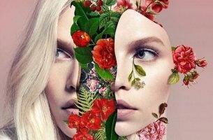 Blomster vokser i kvinnes hode