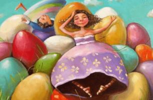 Lev for å være glad - Jente og gutt med fargelagte egg