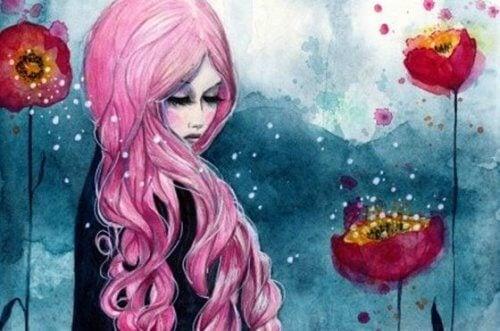 Kvinne med rosa hår
