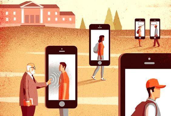 Personer på mobiltelefoner