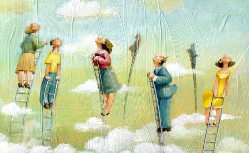 Folk i stiger ser opp mot himmelen