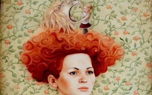 Kvinne med løve på hodet