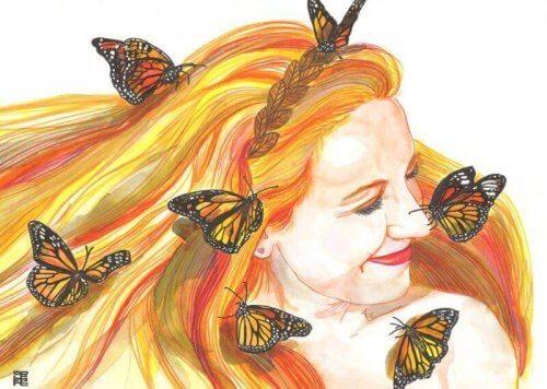 Kvinne med sommerfugler vil le hver dag