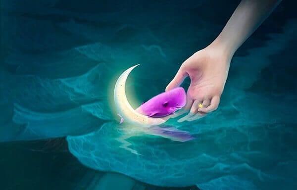 Rosa hval på månen