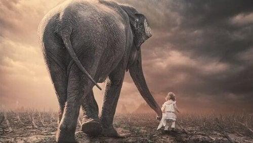Elefant og liten jente