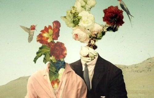 Par med blomsterhoder
