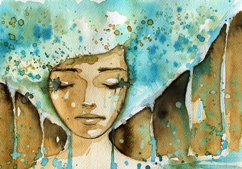 Trist kvinne i akvarell