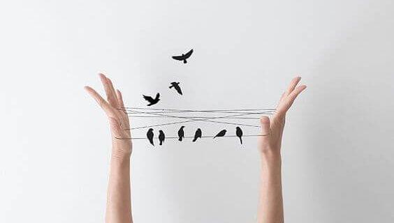 Fugler på snor mellom hender