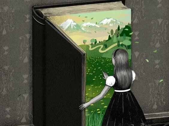 Jente åpner stor bok, av SIUM og Soizick Meister