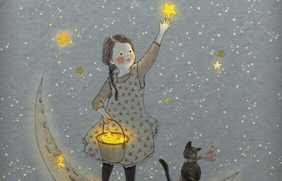 Jente plukker stjerner fra himmelen