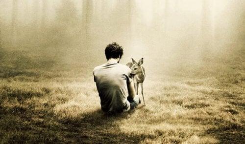 Mann håndterer ensomhet og angst i skogen med et rådyr