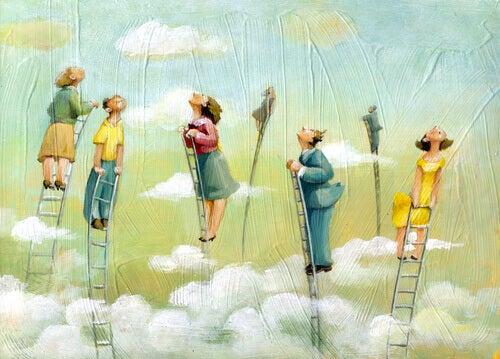 Mennesker på stiger over skyene