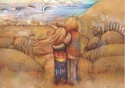Par ser utover mot havet