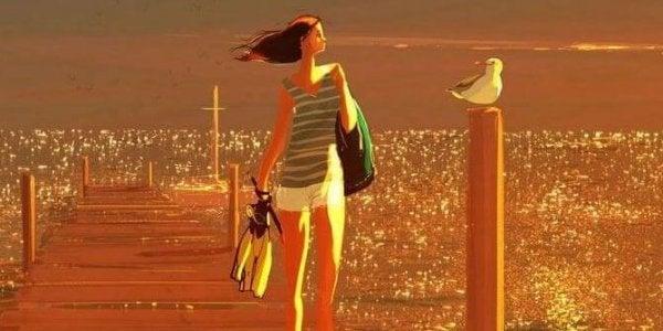 Kvinne alene på brygge