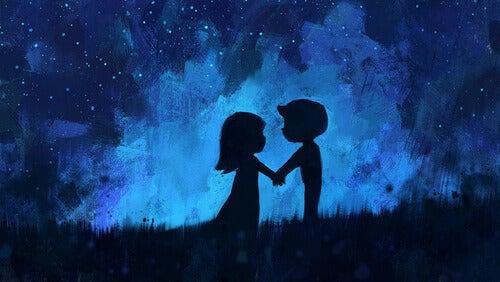 Forelsket par om natten