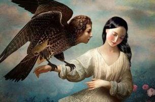 Kvinne holder ørn med menneskehode