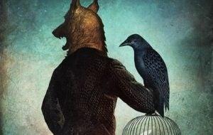 Person med ulvehode holder svart fugl