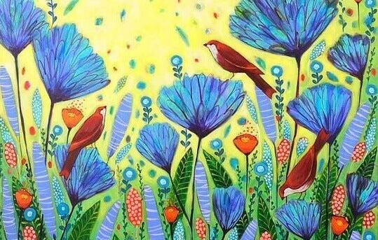 Fugler på blomster