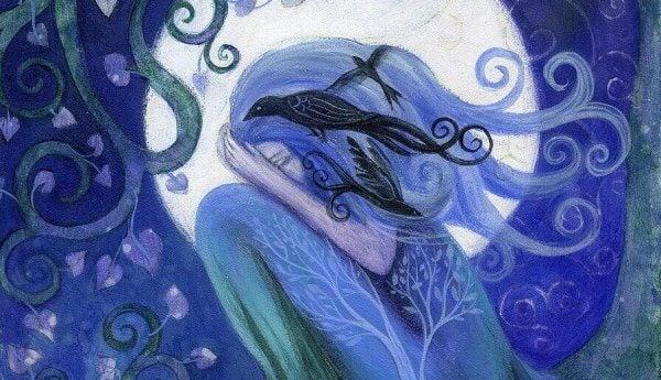 Jente med fugl i håret gråter foran månen