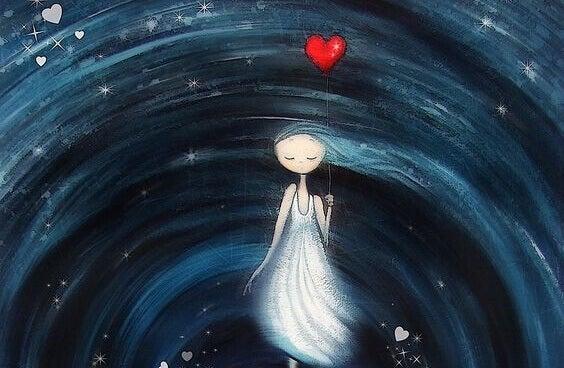 Et bedre liv vil åpne seg for deg: Jente med hjerteballong i virvelvinden av livet