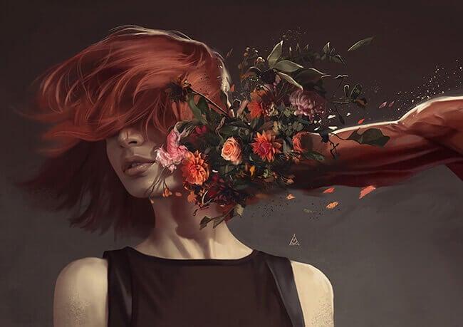 Kvinne blir slått av hånd med blomster