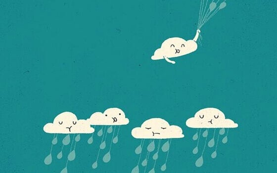 Triste regnskyer og en glad sky med ballonger