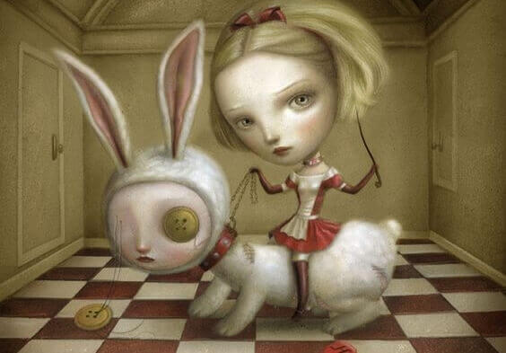 Kvinne rir på kanin i giftige miljøer