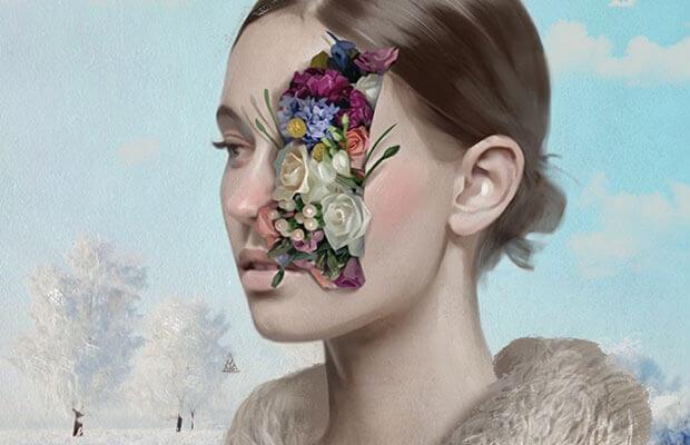 Kvinne med blomster som kommer ut av et sår i ansiktet hennes
