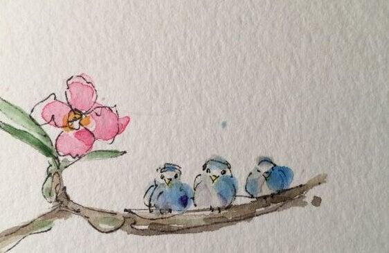 Akvarellmaling, tre fugler sitter på en gren
