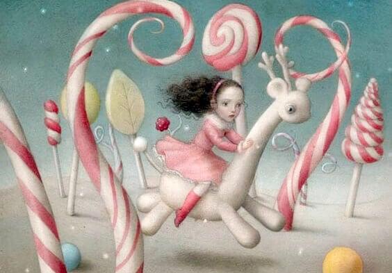 En liten jente i en fantasiverden med godteri