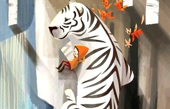 Barn drømmer med en hvit tiger