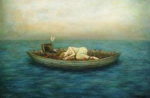 Kvinne i en båt, jeg trenger meg
