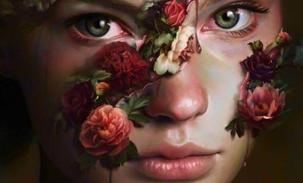En flink jente dekket i roser