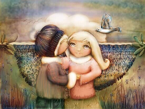 En gutt som kysser en jente i et kunstverk