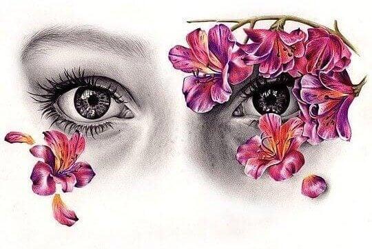Øyne med blomster