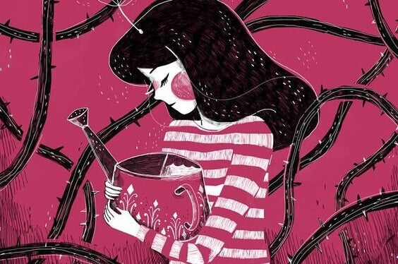 Kvinne med vannkanne i et tornekratt