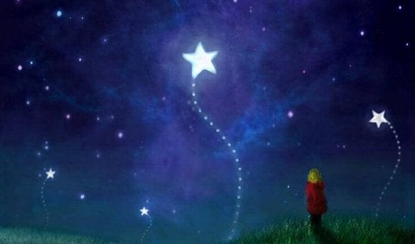 Barn ser på stjerner