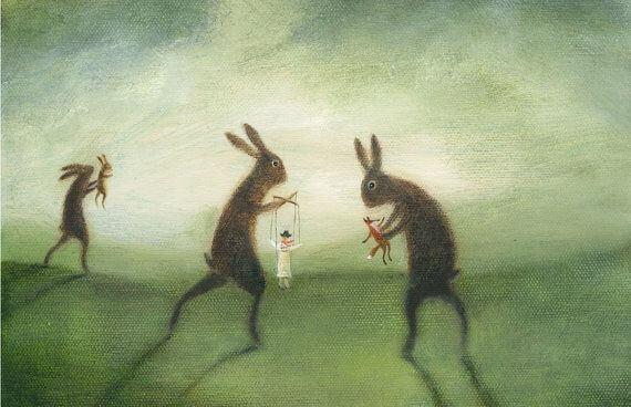 Gigantiske kaniner som holder menneskelige dukker