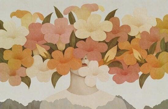 en persons ansikt dekket med blomster