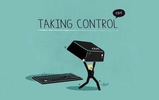 En tegning av en mann som tar kontroll