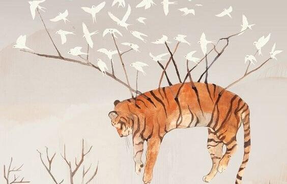 Fugler flyr med tiger