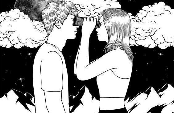Kvinne ser med kikkert i øynene på en mann