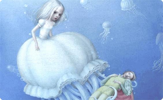 Fantasiverden under vann med prinsesse og prins